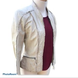 "DANIER leather ""bone"" ruffle fitted jacket"